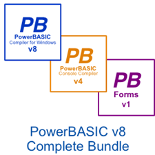 Picture of PowerBASIC for Windows v8.04  •   PowerBASIC Console Compiler v4.04  •  PowerBASIC Forms v1.51 Bundle